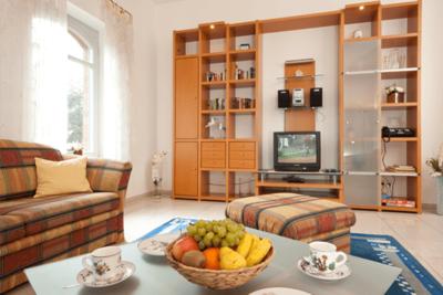 Wohnzimmer der Ferienwohnung 01 in der Villa Seegarten