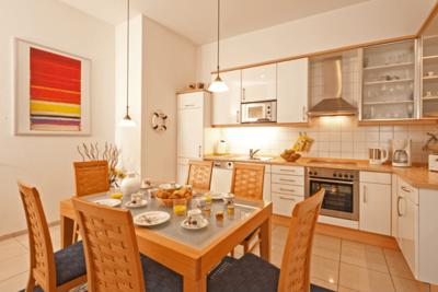 Küche der Ferienwohnung 01 in der Villa Seegarten