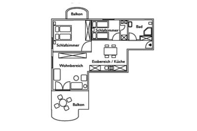 Grundriss der Ferienwohnung 01 in der Villa Seegarten