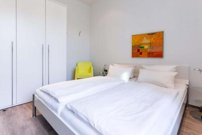 Schlafzimmer der Ferienwohnung in der 04 Villa Höger