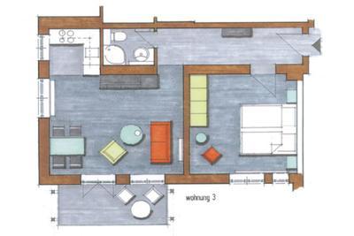 Grundriss der Ferienwohnung 03 in der Villa Höger